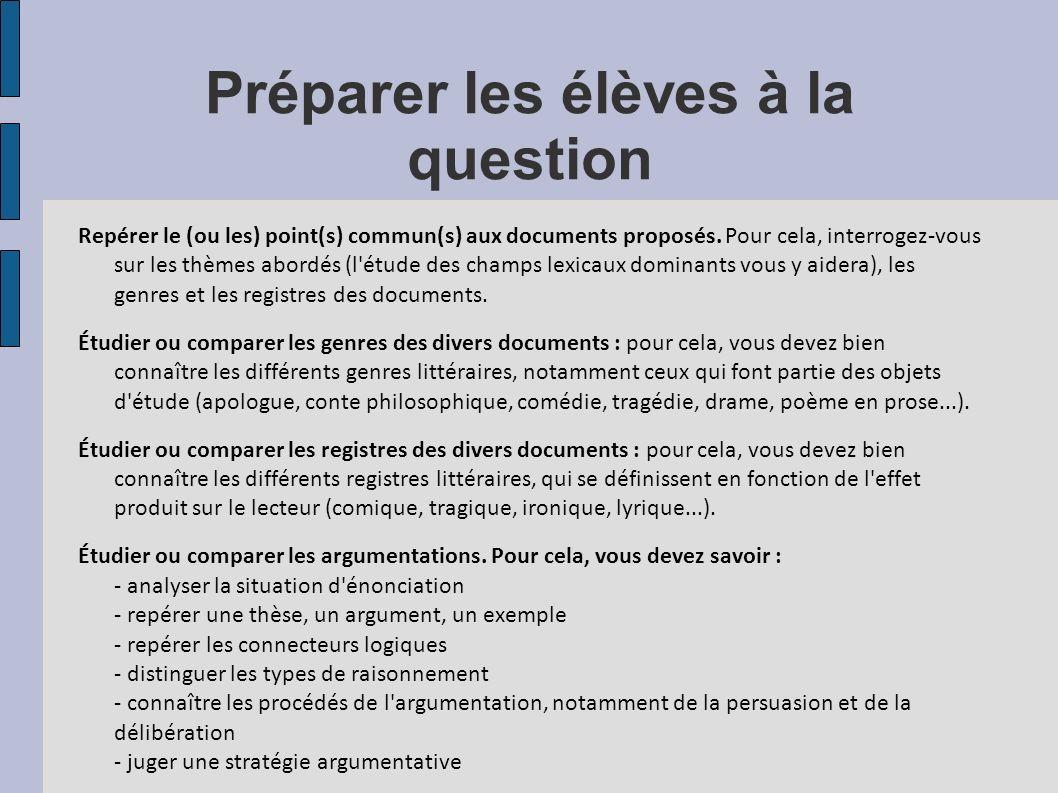 Préparer les élèves à la question Repérer le (ou les) point(s) commun(s) aux documents proposés. Pour cela, interrogez-vous sur les thèmes abordés (l'