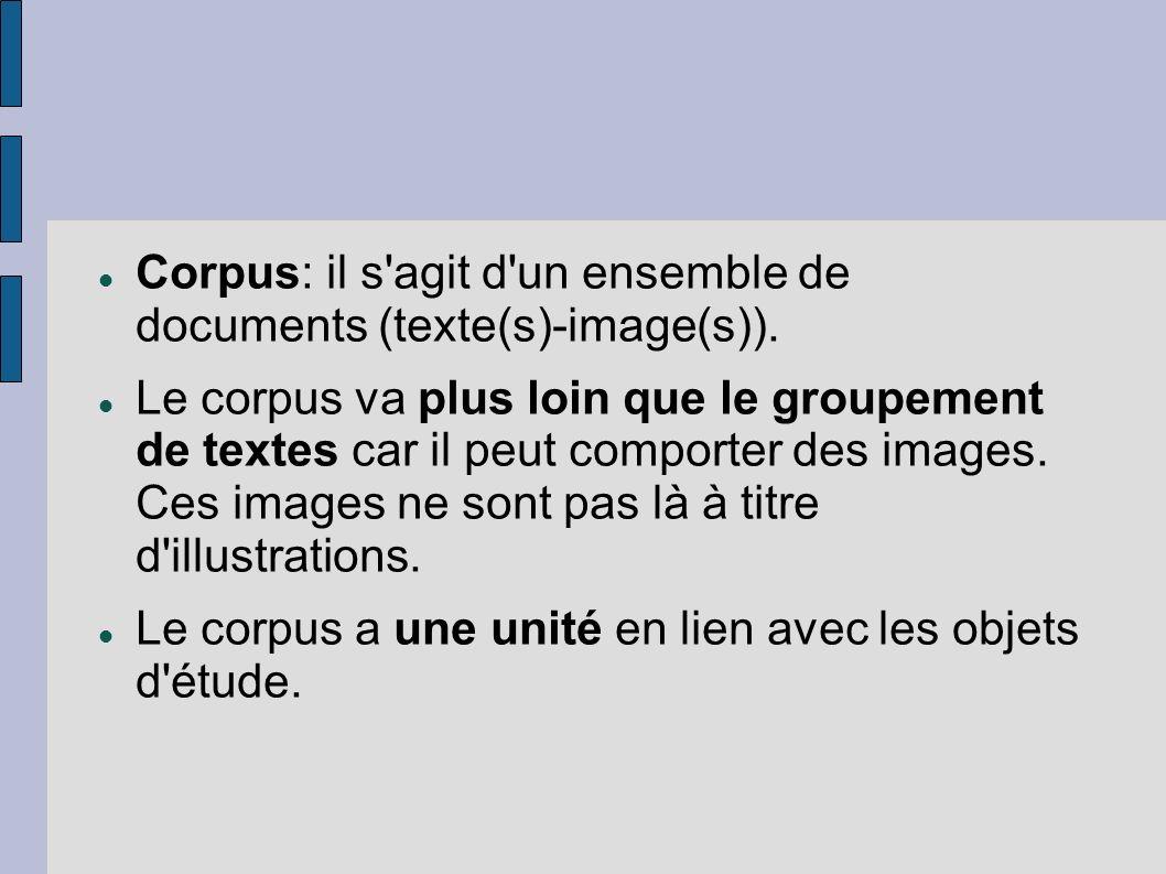 Corpus: il s'agit d'un ensemble de documents (texte(s)-image(s)). Le corpus va plus loin que le groupement de textes car il peut comporter des images.