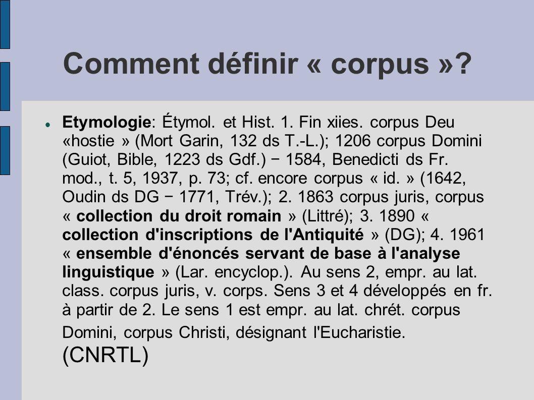 Comment définir « corpus »? Etymologie: Étymol. et Hist. 1. Fin xiies. corpus Deu «hostie » (Mort Garin, 132 ds T.-L.); 1206 corpus Domini (Guiot, Bib