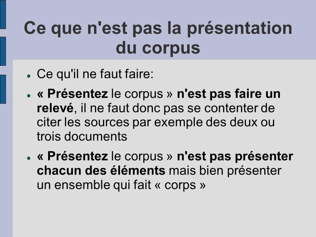 Ce que n'est pas la présentation du corpus Ce qu'il ne faut faire: « Présentez le corpus » n'est pas faire un relevé, il ne faut donc pas se contenter