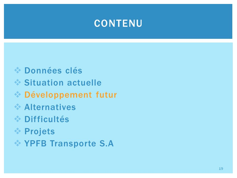 Données clés Situation actuelle Développement futur Alternatives Difficultés Projets YPFB Transporte S.A CONTENU 19