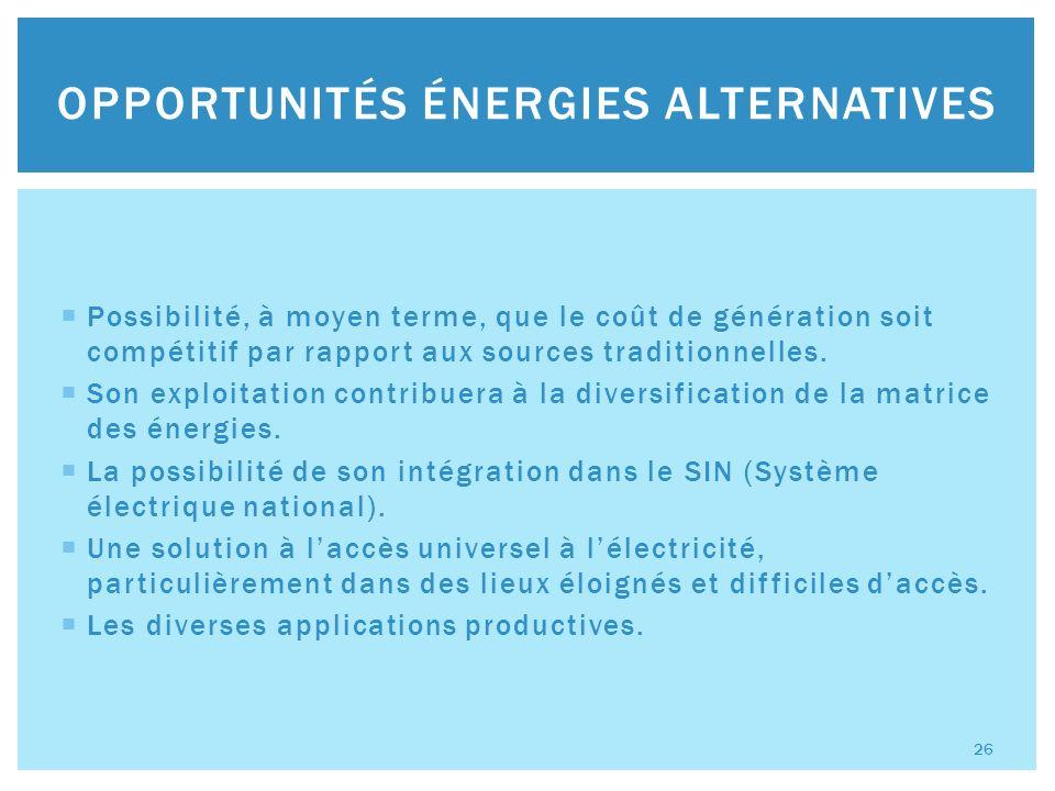 Possibilité, à moyen terme, que le coût de génération soit compétitif par rapport aux sources traditionnelles.