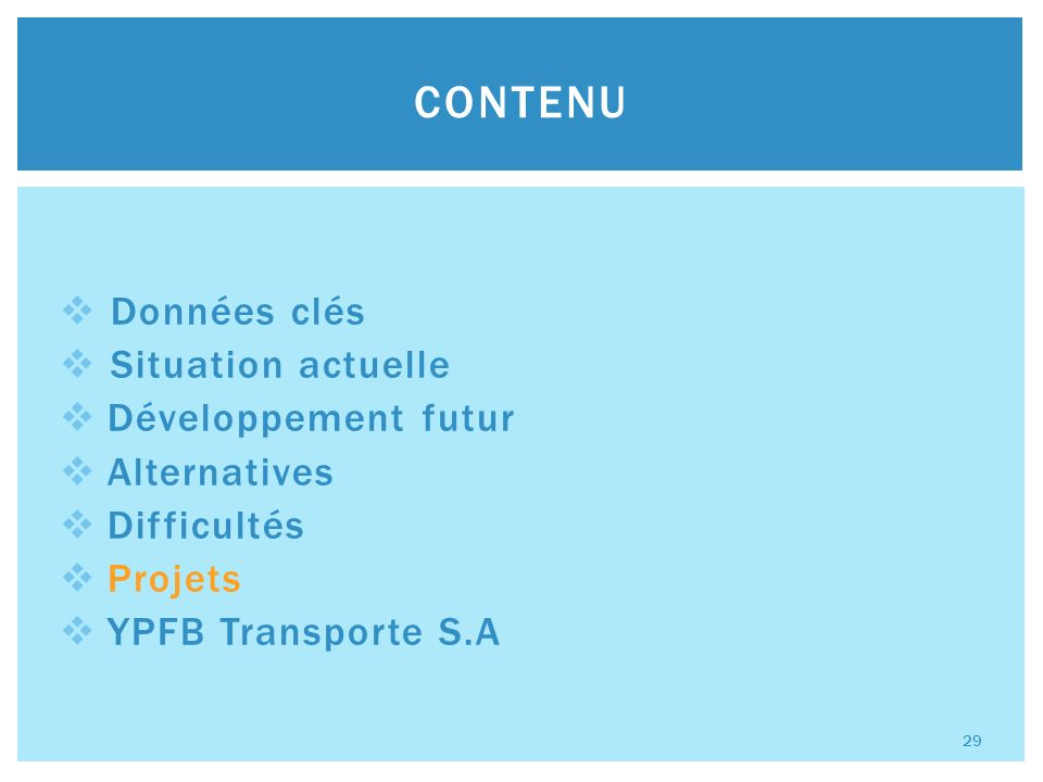 Données clés Situation actuelle Développement futur Alternatives Difficultés Projets YPFB Transporte S.A CONTENU 29