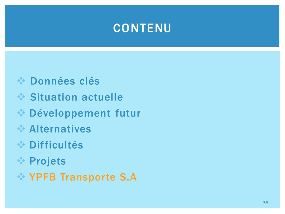 Données clés Situation actuelle Développement futur Alternatives Difficultés Projets YPFB Transporte S.A CONTENU 35