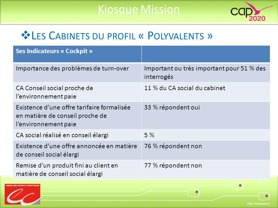Pôle Partenaires 11 Ses Indicateurs « Cockpit » Importance des problèmes de turn-overImportant ou très important pour 51 % des interrogés CA Conseil s