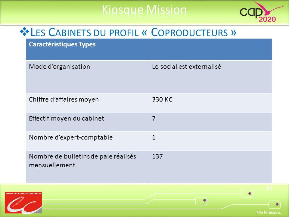 Pôle Partenaires 21 Caractéristiques Types Mode dorganisationLe social est externalisé Chiffre daffaires moyen330 K Effectif moyen du cabinet7 Nombre