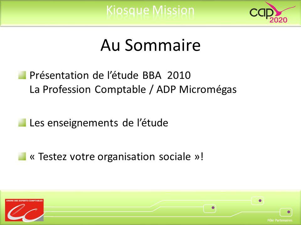 Pôle Partenaires Présentation de létude BBA 2010 La Profession Comptable / ADP Micromégas Les enseignements de létude « Testez votre organisation sociale ».
