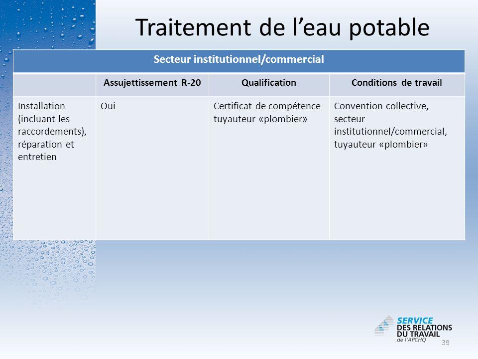 Traitement de leau potable Secteur institutionnel/commercial Assujettissement R-20QualificationConditions de travail Installation (incluant les raccor