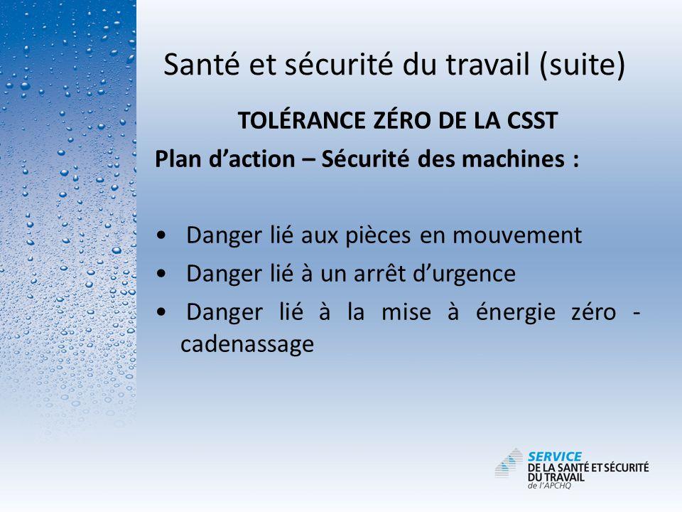Santé et sécurité du travail (suite) TOLÉRANCE ZÉRO DE LA CSST Plan daction – Sécurité des machines : Danger lié aux pièces en mouvement Danger lié à