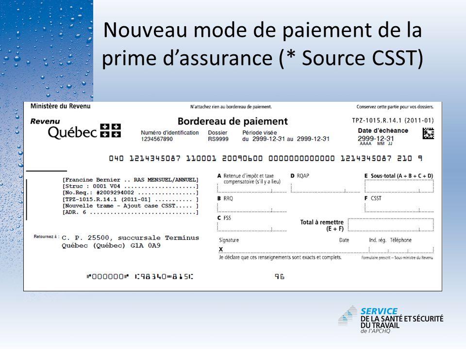 Nouveau mode de paiement de la prime dassurance (* Source CSST)
