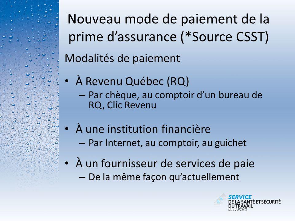 Modalités de paiement À Revenu Québec (RQ) – Par chèque, au comptoir dun bureau de RQ, Clic Revenu À une institution financière – Par Internet, au com