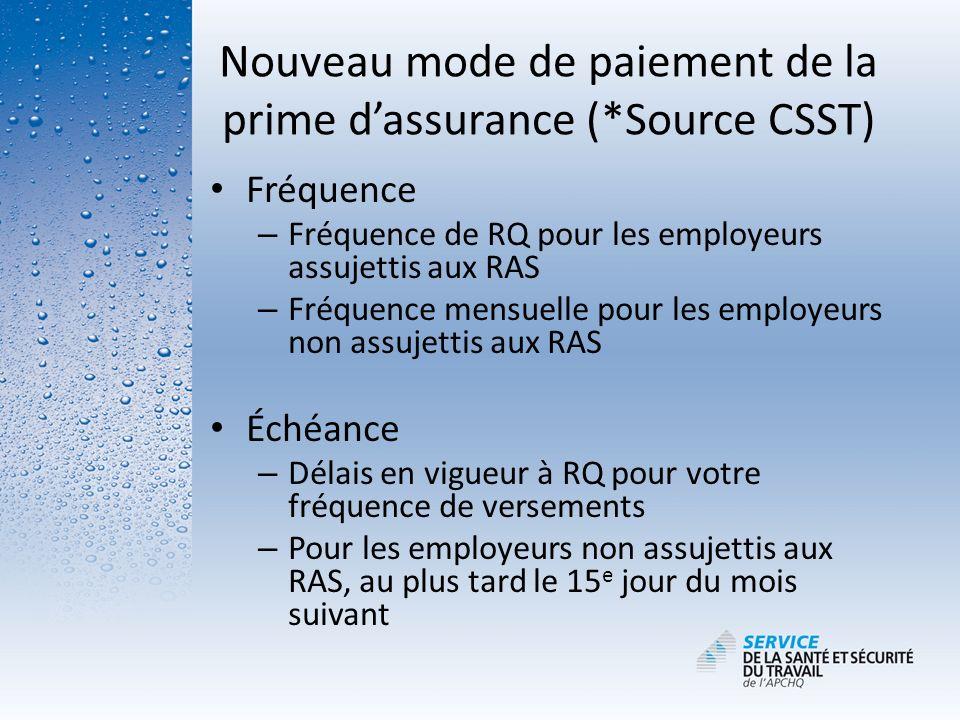 Nouveau mode de paiement de la prime dassurance (*Source CSST) Fréquence – Fréquence de RQ pour les employeurs assujettis aux RAS – Fréquence mensuell