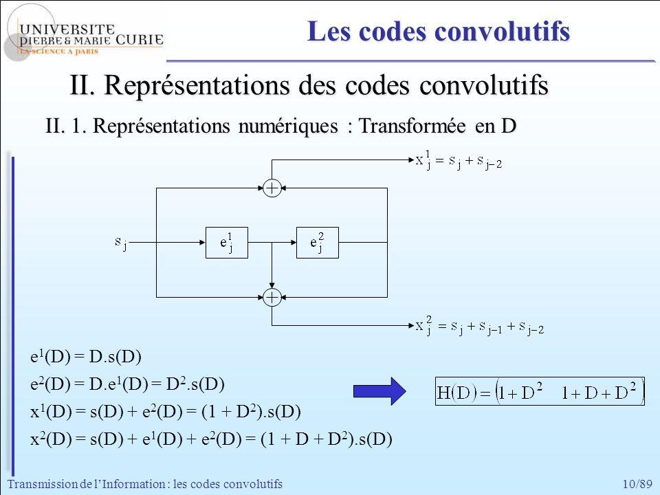 10/89Transmission de lInformation : les codes convolutifs e 1 (D) = D.s(D) e 2 (D) = D.e 1 (D) = D 2.s(D) x 1 (D) = s(D) + e 2 (D) = (1 + D 2 ).s(D) x