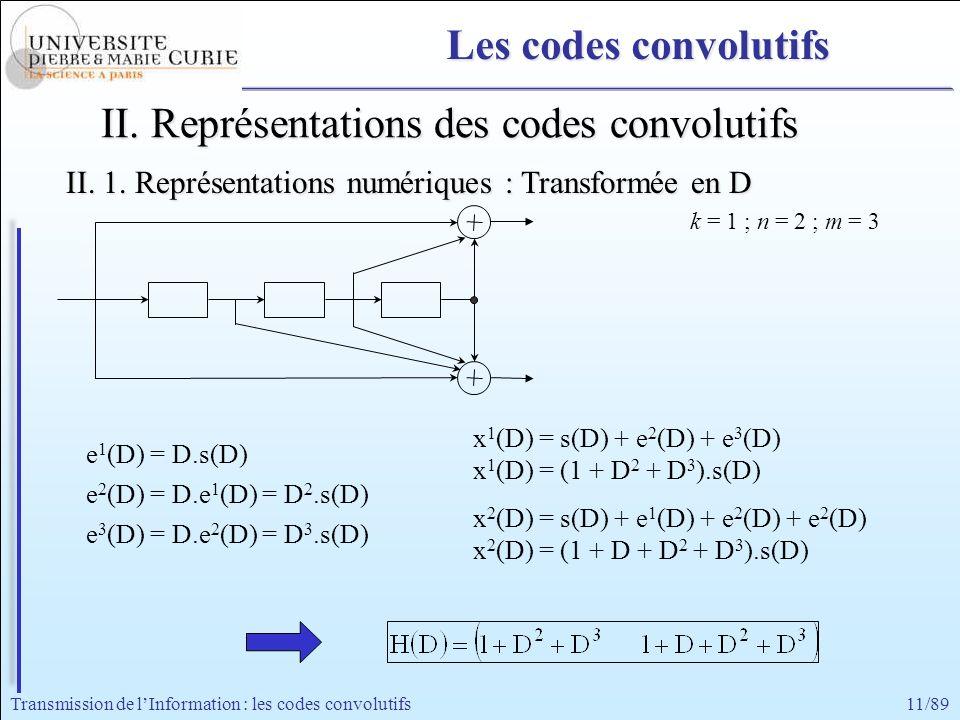 11/89Transmission de lInformation : les codes convolutifs e 1 (D) = D.s(D) e 2 (D) = D.e 1 (D) = D 2.s(D) e 3 (D) = D.e 2 (D) = D 3.s(D) x 1 (D) = s(D