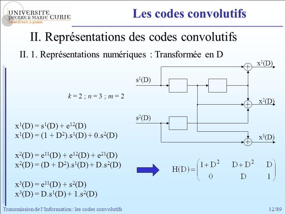 12/89Transmission de lInformation : les codes convolutifs x 1 (D) = s 1 (D) + e 12 (D) x 1 (D) = (1 + D 2 ).s 1 (D) + 0.s 2 (D) x 2 (D) = e 11 (D) + e