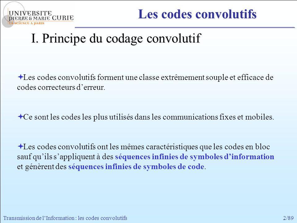 2/89Transmission de lInformation : les codes convolutifs I. Principe du codage convolutif Les codes convolutifs forment une classe extrêmement souple