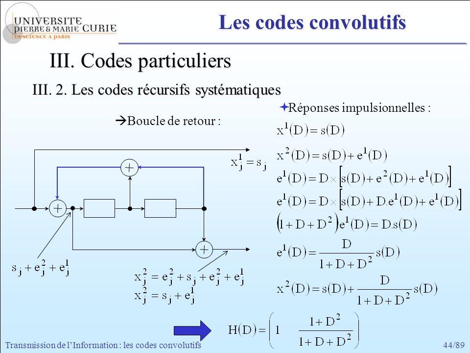 44/89Transmission de lInformation : les codes convolutifs III. Codes particuliers III. 2. Les codes récursifs systématiques Les codes convolutifs Répo
