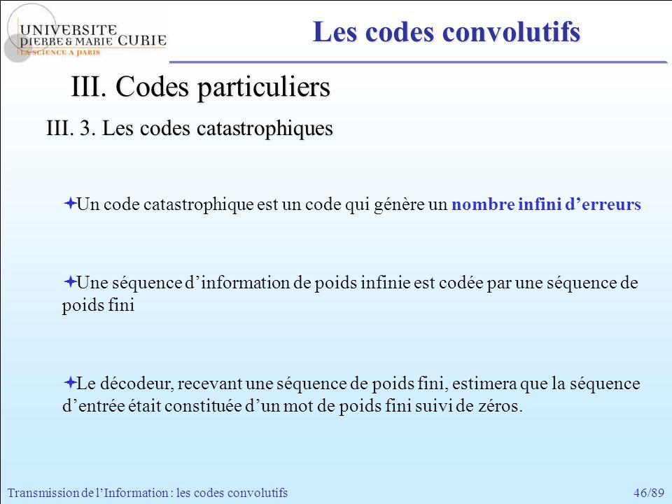 46/89Transmission de lInformation : les codes convolutifs Un code catastrophique est un code qui génère un nombre infini derreurs Une séquence dinform