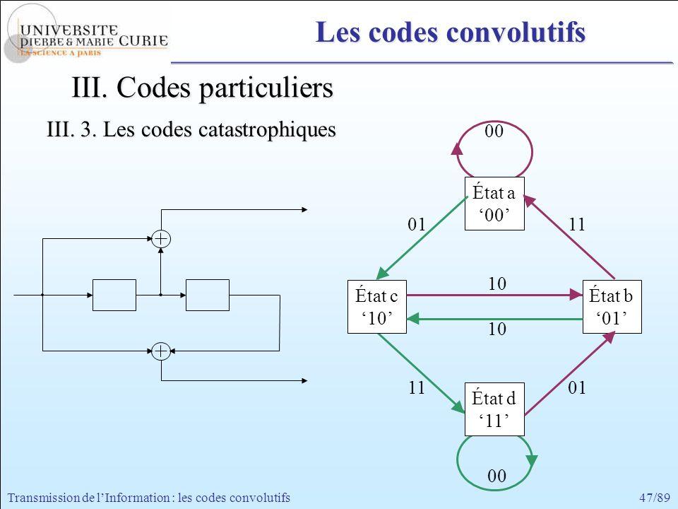 47/89Transmission de lInformation : les codes convolutifs 00 État a 00 État d 11 État c 10 État b 01 11 10 01 10 0111 00 Les codes convolutifs III. Co