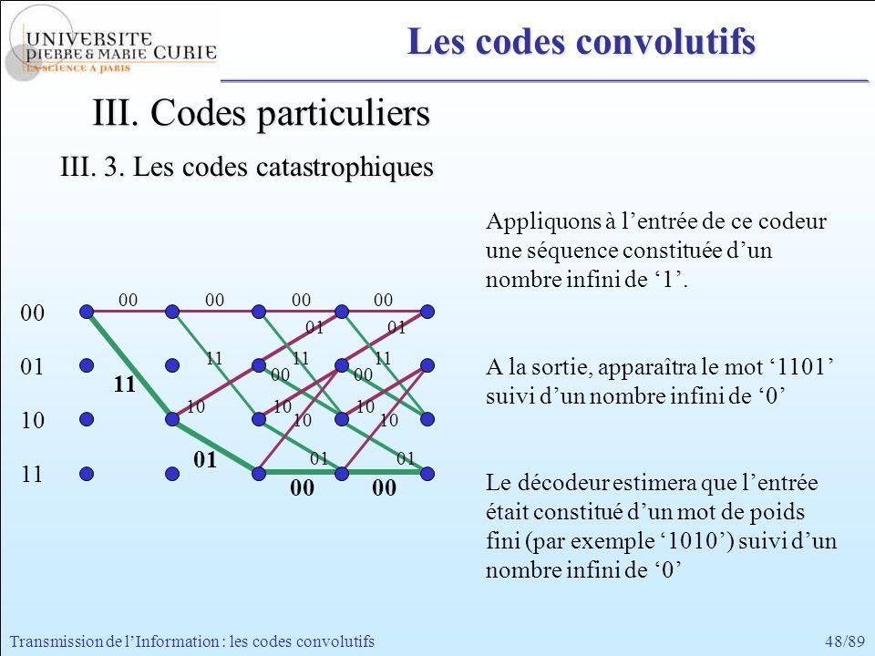 48/89Transmission de lInformation : les codes convolutifs 01 00 01 00 11 00 11 00 10 01 10 01 11 00 11 00 10 01 00 01 10 11 00 10 Appliquons à lentrée