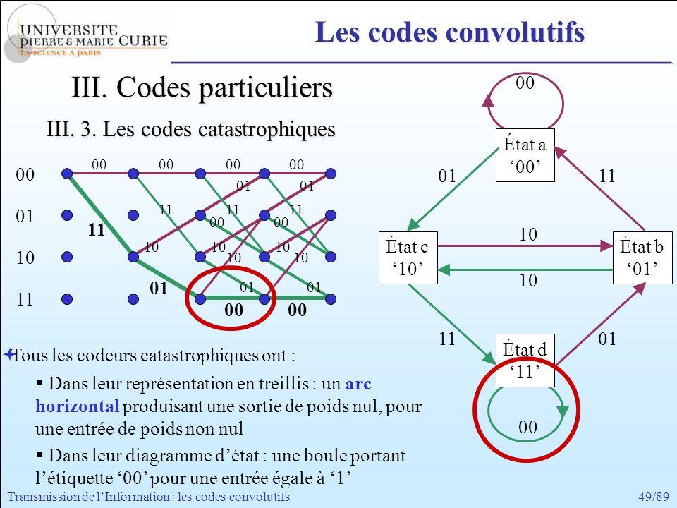 49/89Transmission de lInformation : les codes convolutifs 01 00 01 00 11 00 11 00 10 01 10 01 11 00 11 00 10 01 00 01 10 11 00 10 00 État a 00 État d