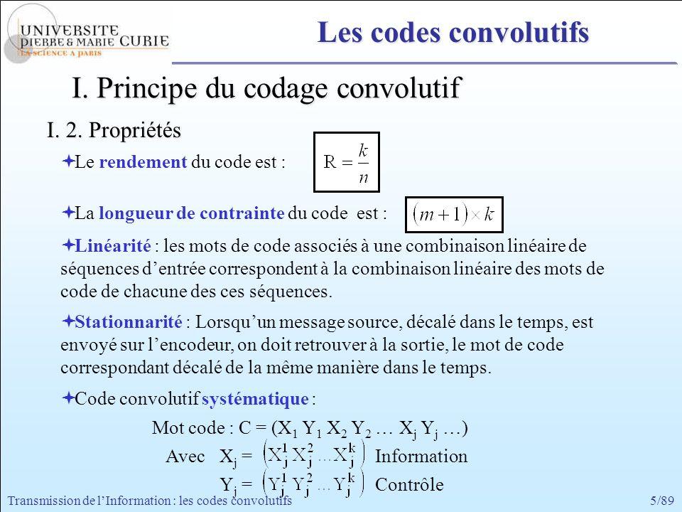 5/89Transmission de lInformation : les codes convolutifs I. Principe du codage convolutif I. 2. Propriétés Mot code : C = (X 1 Y 1 X 2 Y 2 … X j Y j …