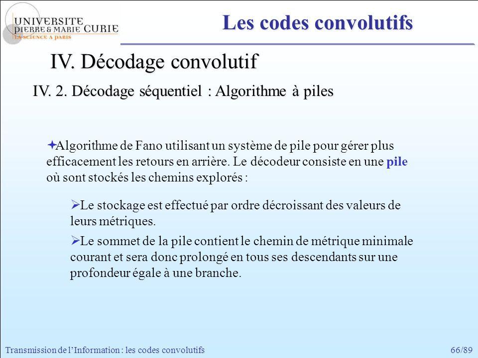 66/89Transmission de lInformation : les codes convolutifs Les codes convolutifs Algorithme de Fano utilisant un système de pile pour gérer plus effica