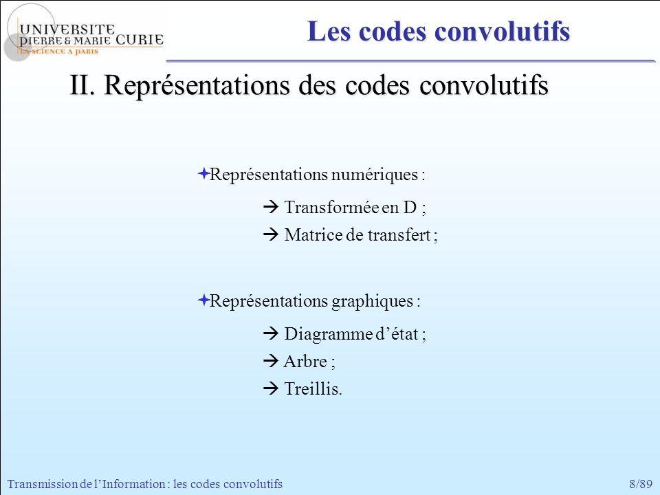 8/89Transmission de lInformation : les codes convolutifs Représentations numériques : Transformée en D ; Matrice de transfert ; Représentations graphi