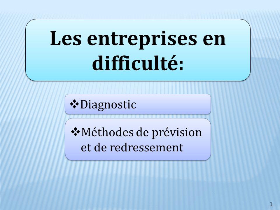 Les entreprises en difficulté: Diagnostic Méthodes de prévision et de redressement Méthodes de prévision et de redressement 1