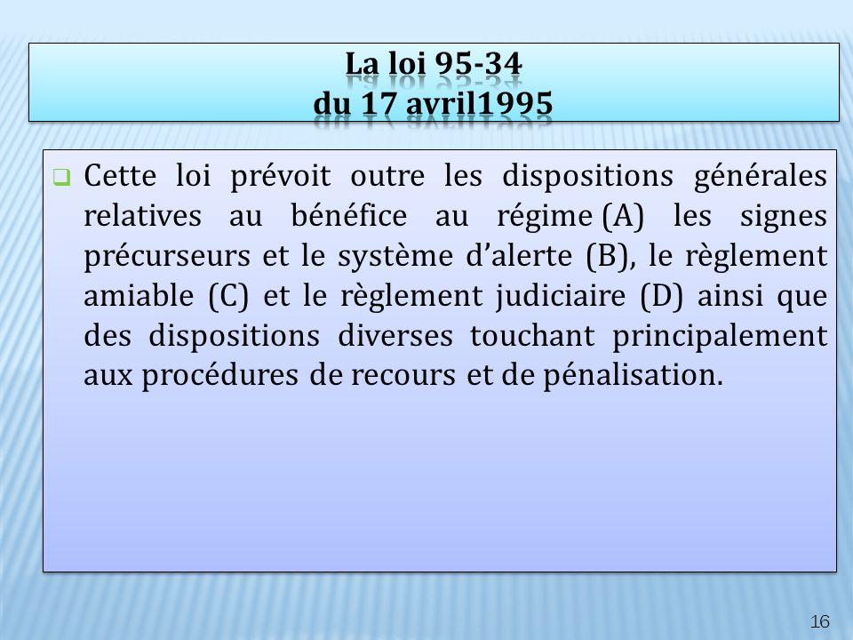 Cette loi prévoit outre les dispositions générales relatives au bénéfice au régime (A) les signes précurseurs et le système dalerte (B), le règlement