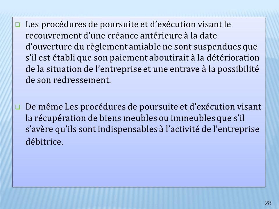 Les procédures de poursuite et dexécution visant le recouvrement dune créance antérieure à la date douverture du règlement amiable ne sont suspendues