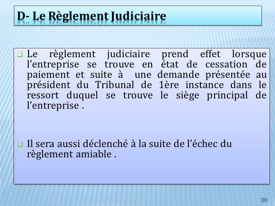 Le règlement judiciaire prend effet lorsque lentreprise se trouve en état de cessation de paiement et suite à une demande présentée au président du Tr