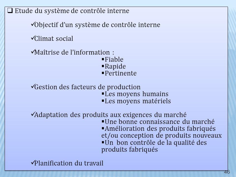 46 Etude du système de contrôle interne Objectif dun système de contrôle interne Climat social Maîtrise de linformation : Fiable Rapide Pertinente Ges