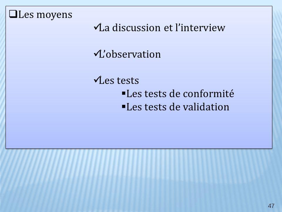 47 Les moyens La discussion et linterview Lobservation Les tests Les tests de conformité Les tests de validation Les moyens La discussion et lintervie