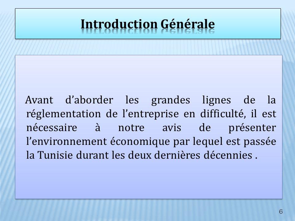 Lenvironnement économique de la Tunisie sest caractérisé par une mutation qualitative faisant passer la Tunisie dune économie fortement protégée où lEtat est le principal investisseur, à une économie ouverte à limpulsion du secteur privé national et étranger étant le principal moteur de la croissance.
