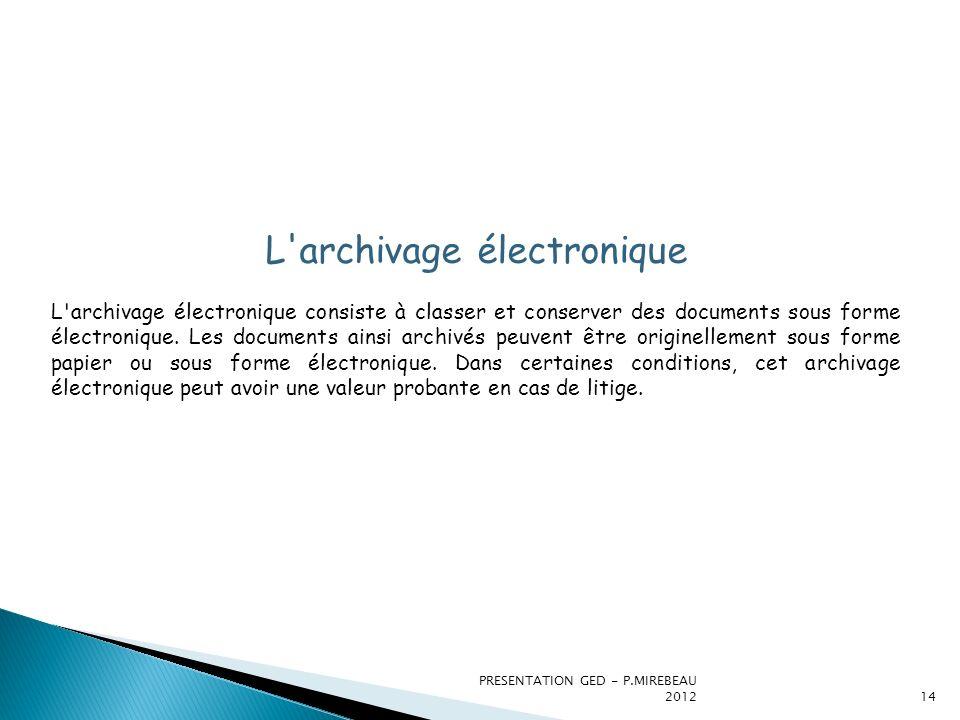 PRESENTATION GED - P.MIREBEAU 201214 L'archivage électronique L'archivage électronique consiste à classer et conserver des documents sous forme électr