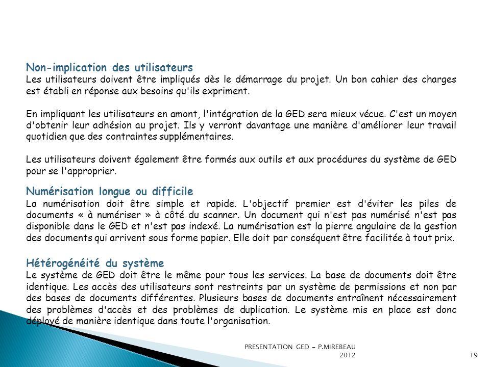 PRESENTATION GED - P.MIREBEAU 201219 Non-implication des utilisateurs Les utilisateurs doivent être impliqués dès le démarrage du projet. Un bon cahie