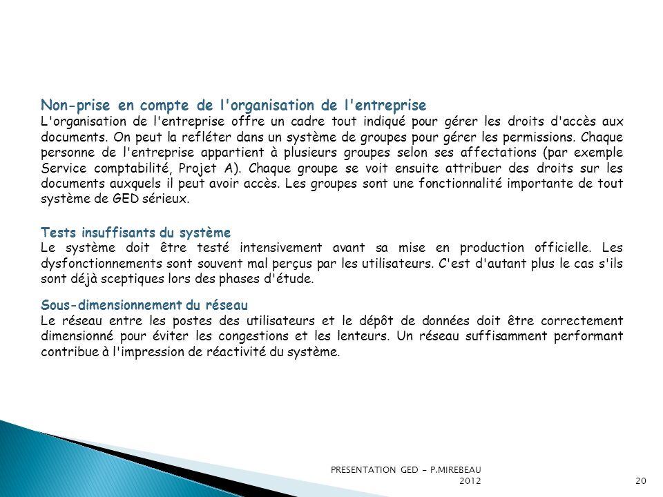 PRESENTATION GED - P.MIREBEAU 201220 Non-prise en compte de l'organisation de l'entreprise L'organisation de l'entreprise offre un cadre tout indiqué