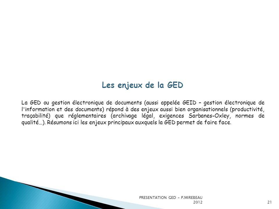 PRESENTATION GED - P.MIREBEAU 201221 Les enjeux de la GED La GED ou gestion électronique de documents (aussi appelée GEID – gestion électronique de l'