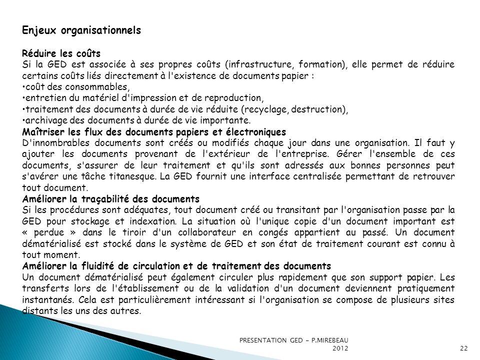 PRESENTATION GED - P.MIREBEAU 201222 Enjeux organisationnels Réduire les coûts Si la GED est associée à ses propres coûts (infrastructure, formation),