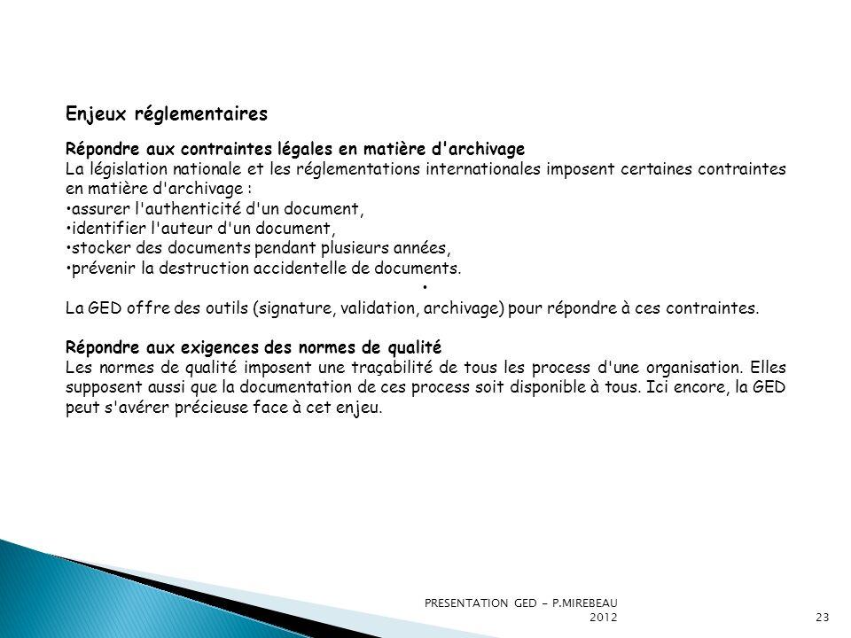PRESENTATION GED - P.MIREBEAU 201223 Enjeux réglementaires Répondre aux contraintes légales en matière d'archivage La législation nationale et les rég