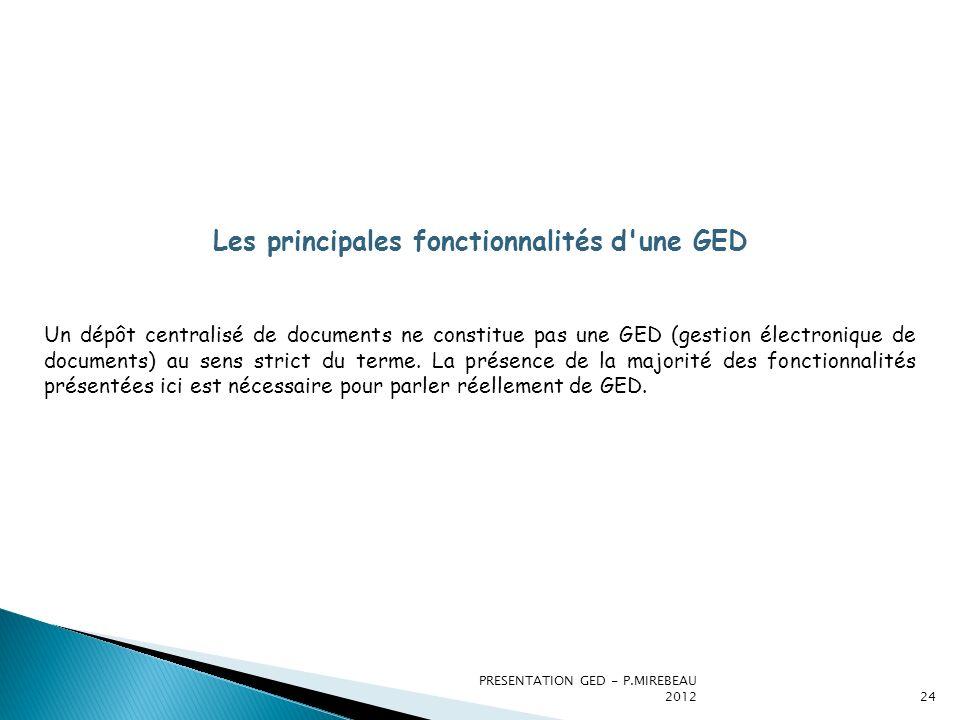 PRESENTATION GED - P.MIREBEAU 201224 Les principales fonctionnalités d'une GED Un dépôt centralisé de documents ne constitue pas une GED (gestion élec