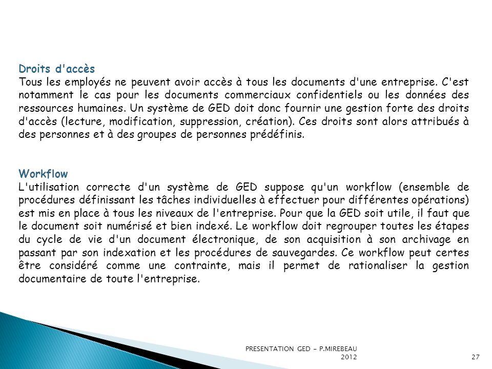PRESENTATION GED - P.MIREBEAU 201227 Droits d'accès Tous les employés ne peuvent avoir accès à tous les documents d'une entreprise. C'est notamment le