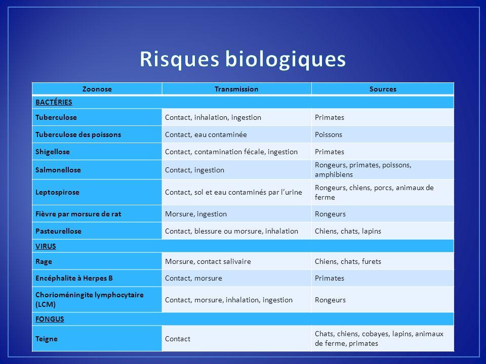 ZoonoseTransmissionSources BACTÉRIES TuberculoseContact, inhalation, ingestionPrimates Tuberculose des poissonsContact, eau contaminéePoissons Shigell