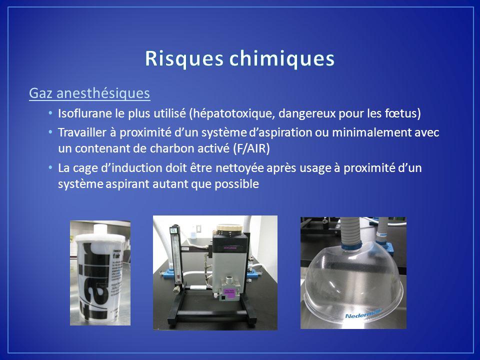 Gaz anesthésiques Isoflurane le plus utilisé (hépatotoxique, dangereux pour les fœtus) Travailler à proximité dun système daspiration ou minimalement
