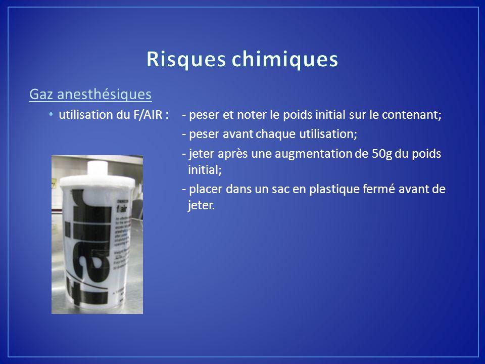 Gaz anesthésiques utilisation du F/AIR :- peser et noter le poids initial sur le contenant; - peser avant chaque utilisation; - jeter après une augmen