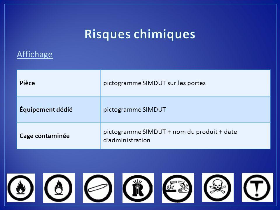 Affichage Piècepictogramme SIMDUT sur les portes Équipement dédiépictogramme SIMDUT Cage contaminée pictogramme SIMDUT + nom du produit + date dadmini