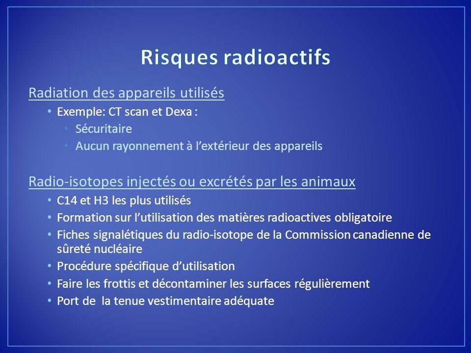 Radiation des appareils utilisés Exemple: CT scan et Dexa : Sécuritaire Aucun rayonnement à lextérieur des appareils Radio-isotopes injectés ou excrét