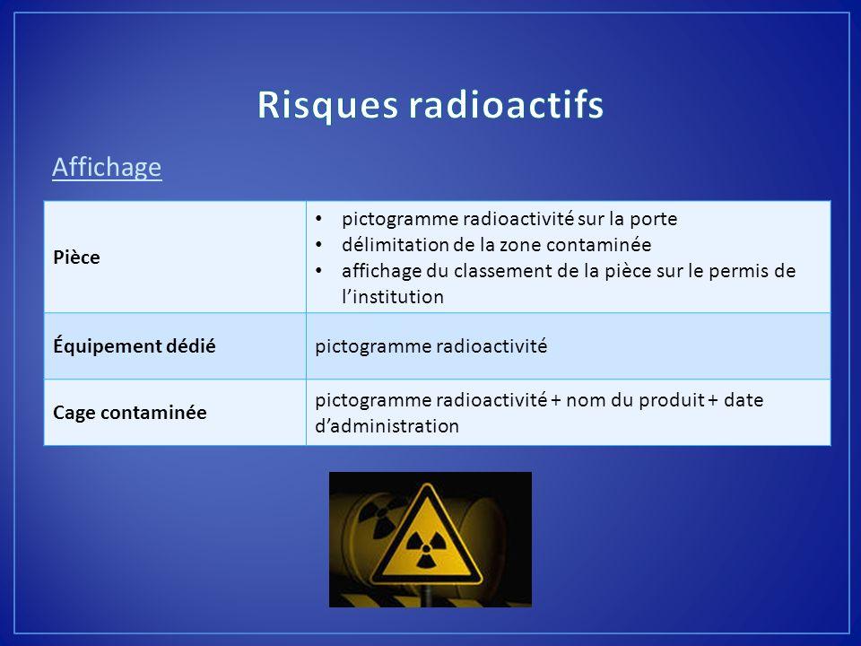 Affichage Pièce pictogramme radioactivité sur la porte délimitation de la zone contaminée affichage du classement de la pièce sur le permis de linstit
