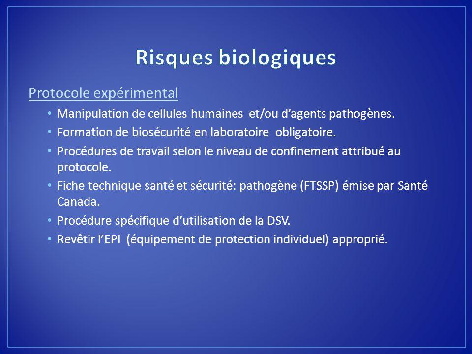 Protocole expérimental Manipulation de cellules humaines et/ou dagents pathogènes. Formation de biosécurité en laboratoire obligatoire. Procédures de